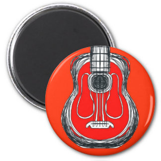 Red Guitar Monster Face Magnet