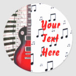 Red Guitar Piano Keys and Note Round Sticker