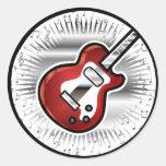 Red Guitar Round Sticker