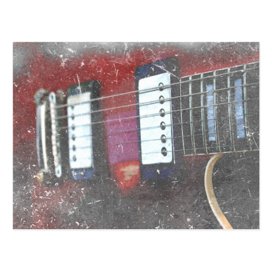 red guitar strings bridge grunge music design postcard