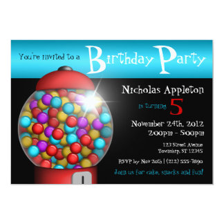 Red Gumball Machine Aqua Birthday Party Invitation