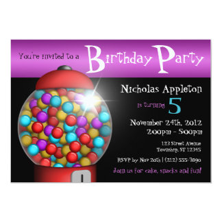 Red Gumball Machine Birthday Party Invitations