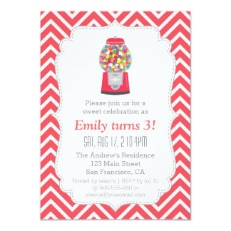 Red Gumball Machine Candy Birthday Party 11 Cm X 16 Cm Invitation Card