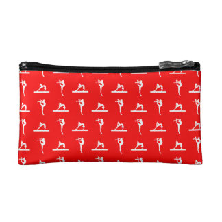 Red Gymnastics Pattern Clutch Makeup Bags