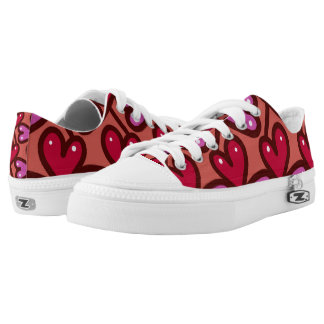 Red Haearts On Pink Low Tops