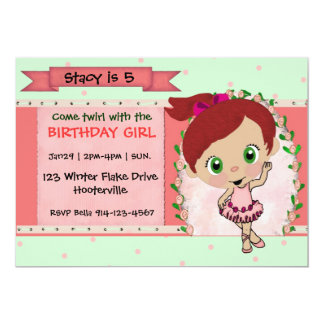 Red Hair Ballerina or Dance Party Invitation