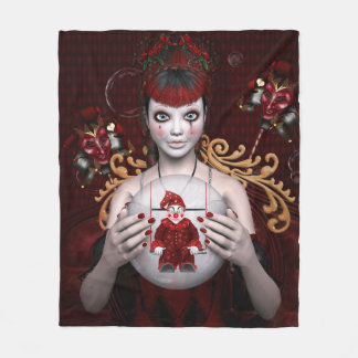 Red hair clown girl fleece blanket