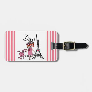 Red Hair Diva Luggage Tag