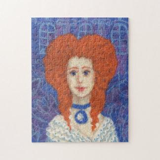 Red Hair, ginger girl rococo fiber art blue orange Jigsaw Puzzle
