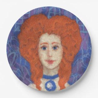 Red Hair, ginger girl rococo fiber art blue orange Paper Plate