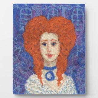 Red Hair, ginger girl rococo fiber art blue orange Plaque