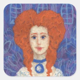 Red Hair, ginger girl rococo fiber art blue orange Square Sticker