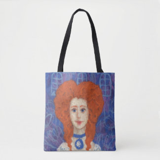 Red Hair, ginger girl rococo fiber art blue orange Tote Bag