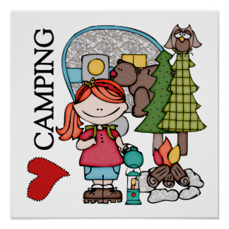 Red Hair Girl I Love Camping Poster