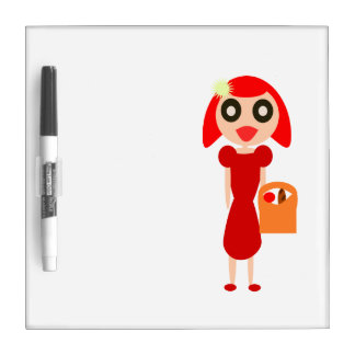 Red Hair Girl with Basket Dry Erase Board