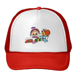 Red Hair Girl With Birthday Gifts T-shirts Cap