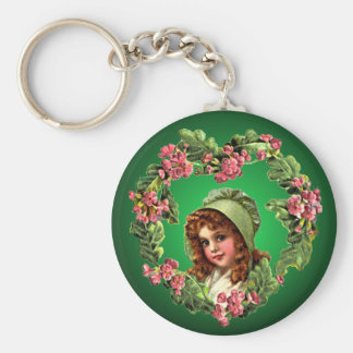 RED HAIR, GREEN BONNET by SHARON SHARPE Basic Round Button Key Ring