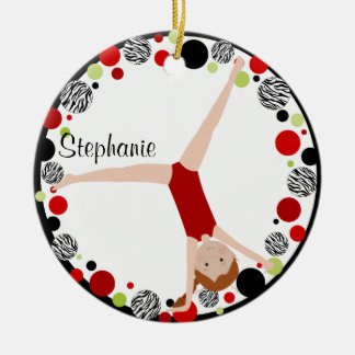 Red Hair Gymnast Red, Black & Green Personalized Christmas Ornament