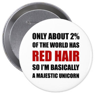 Red Hair Majestic Unicorn 10 Cm Round Badge