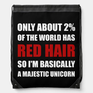 Red Hair Majestic Unicorn Drawstring Bag
