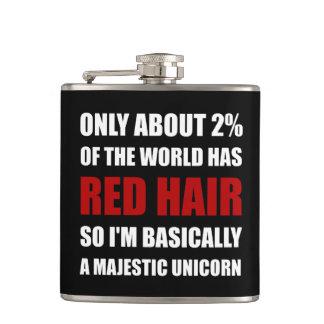 Red Hair Majestic Unicorn Hip Flask