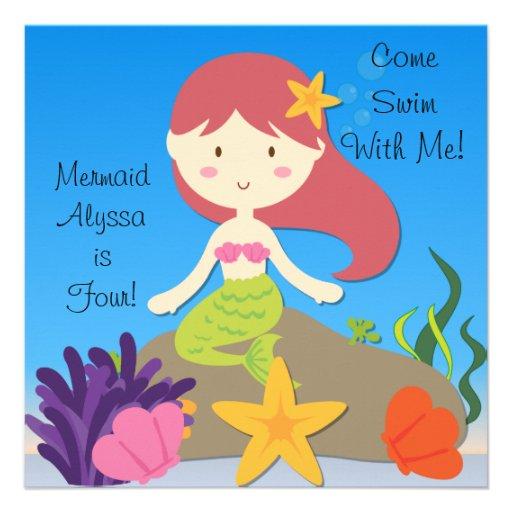 Red Hair Mermaid Custom Birthday Invitation