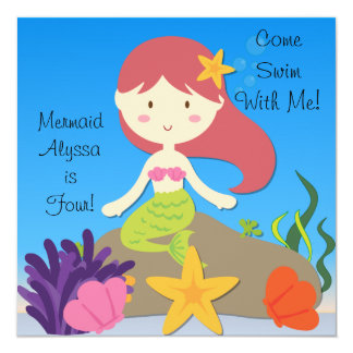 Red Hair Mermaid Custom Birthday Invitation