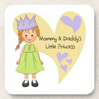 Red Hair Mommy and Daddy's Princess Beverage Coaster