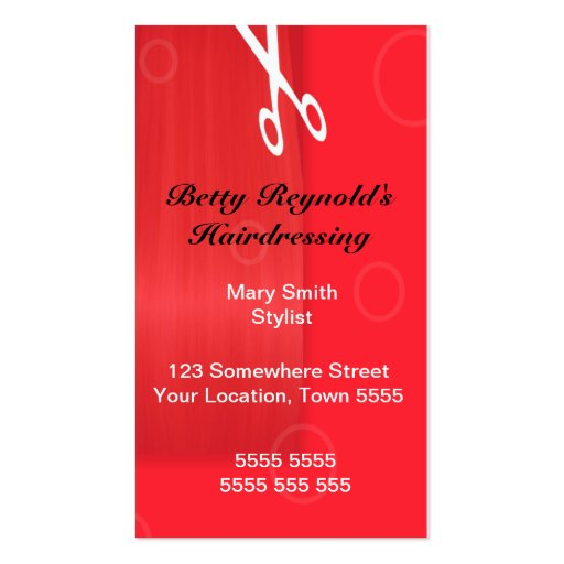 Red Hairdressing Business card