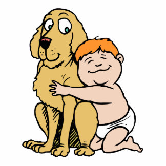 red haired boy with big dog cut out