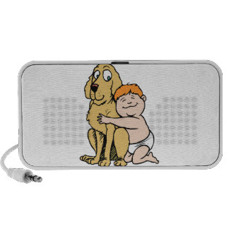 red haired boy with big dog speaker system