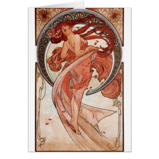 Red Haired Dancing Girl - Mucha Card