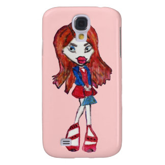 Red Haired Fashionista Girl Galaxy S4 Case