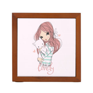 Red Haired Girl and her Little Cat Desk Organiser