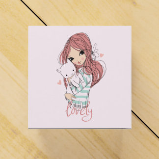 Red Haired Girl and her Little Cat Favour Box