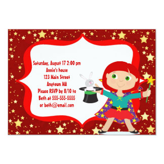 Red Haired Girl Magician Birthday Party Invitation