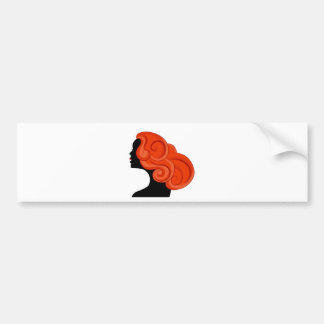 Red Haired Girl Profile Silhouette Bumper Sticker