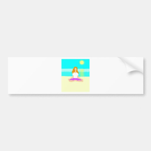 Red haired girl, yoga, om pose, beach, ocean, sun bumper stickers