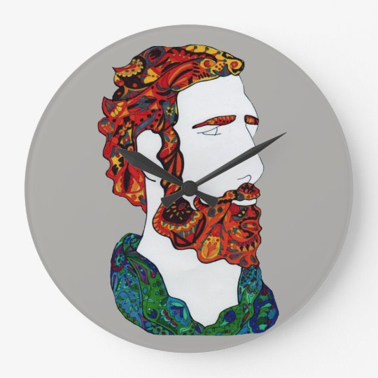 Red-haired hipster dude large clock