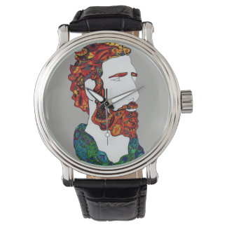 Red-haired hipster dude wrist watch