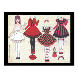 Red-Haired Lolita Paper Doll Postcard