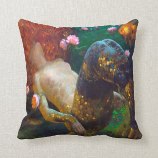 Red Haired Mermaid 2 Throw Pillow