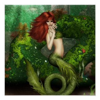 Red Haired Mermaid Print