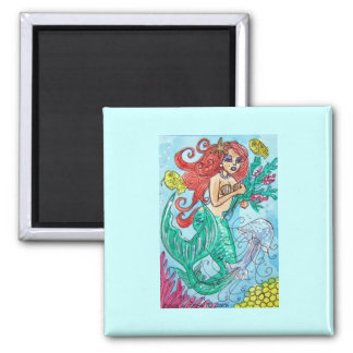 red haired mermaid with flowers magnet
