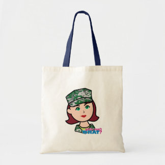 Red Haired Military Girl Camo Head Canvas Bag