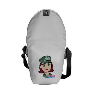 Red Haired Military Girl Camo Head Messenger Bag