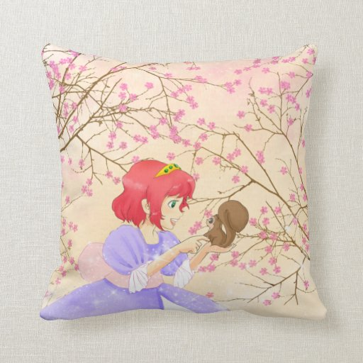 Red haired Princess and squirrel blossom pillow