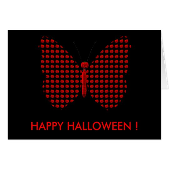 Red Halloween Butterfly Card