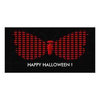 Red Halloween Butterfly Personalized Photo Card