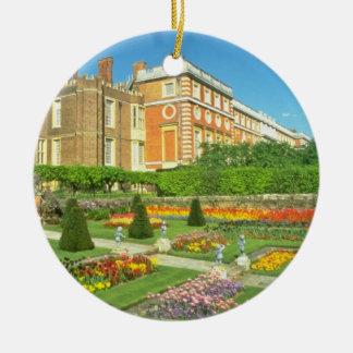 Red Hampton Court, Surrey, England flowers Round Ceramic Decoration